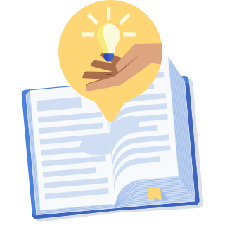 Illustration of a book with a lightbulb coming out of the page