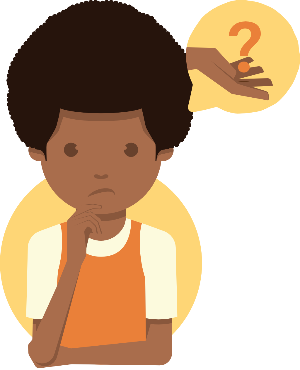 Illustration of a person considering a question