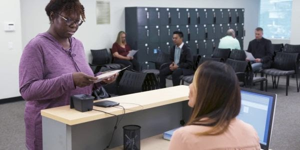 Woman registers at a UCAT test centre
