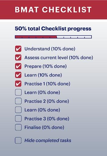 BMAT revision checklist infographic