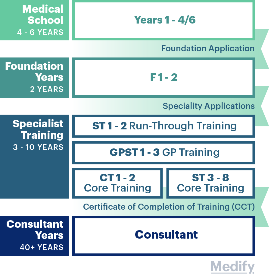 Illustrated graphic of the timeline of a medical degree