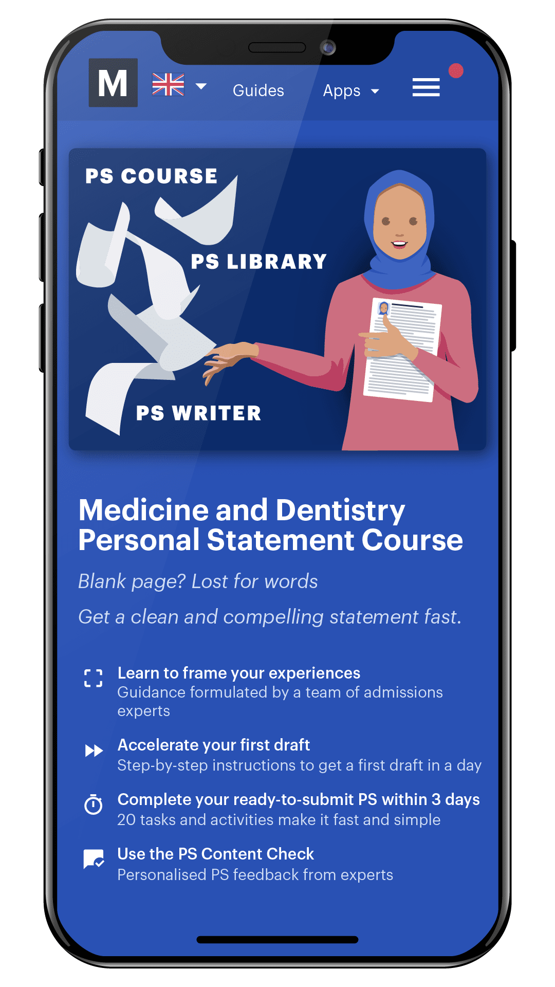 Medify's Medicine and Dentistry Personal Statement Course on mobile phone