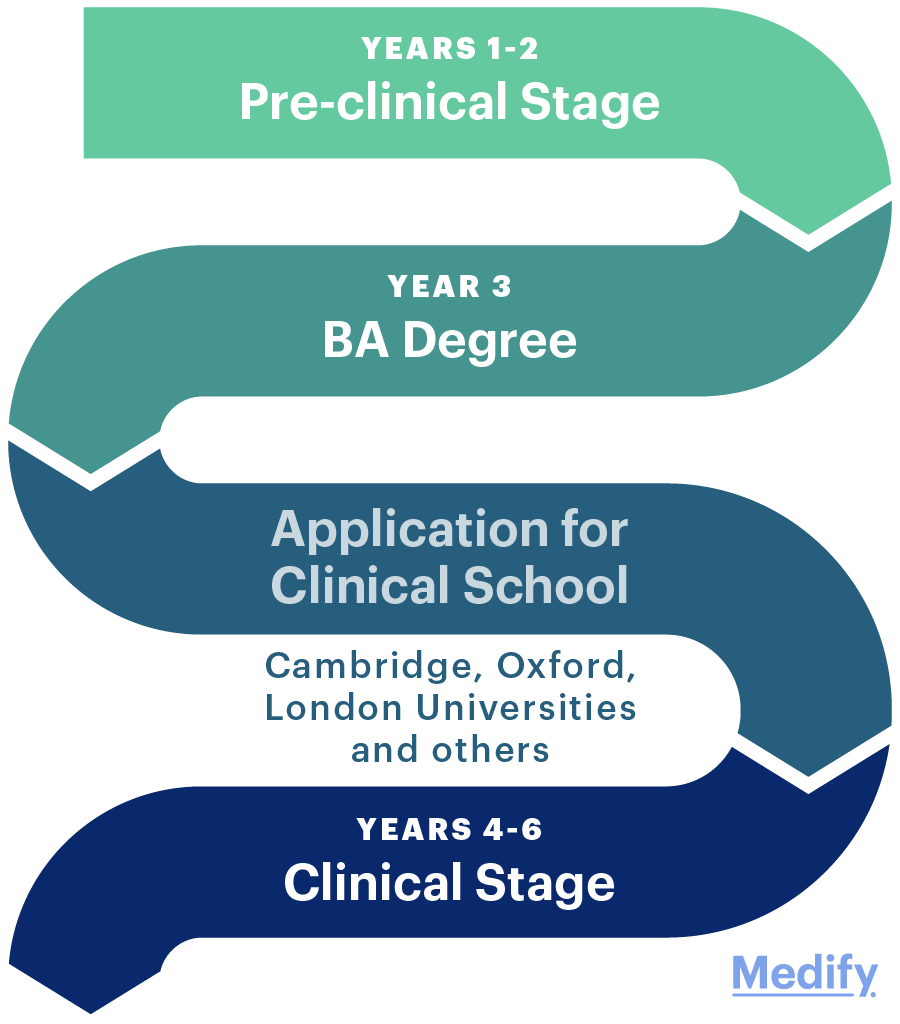 Visual representation of the stages of Oxbridge Medicine
