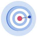 A target with a dart in the bullseye.