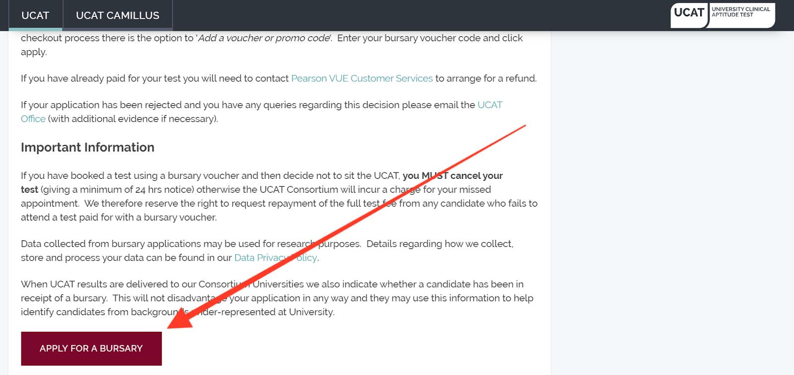 Applying for a UCAT Bursary Scheme in the UCAT official website