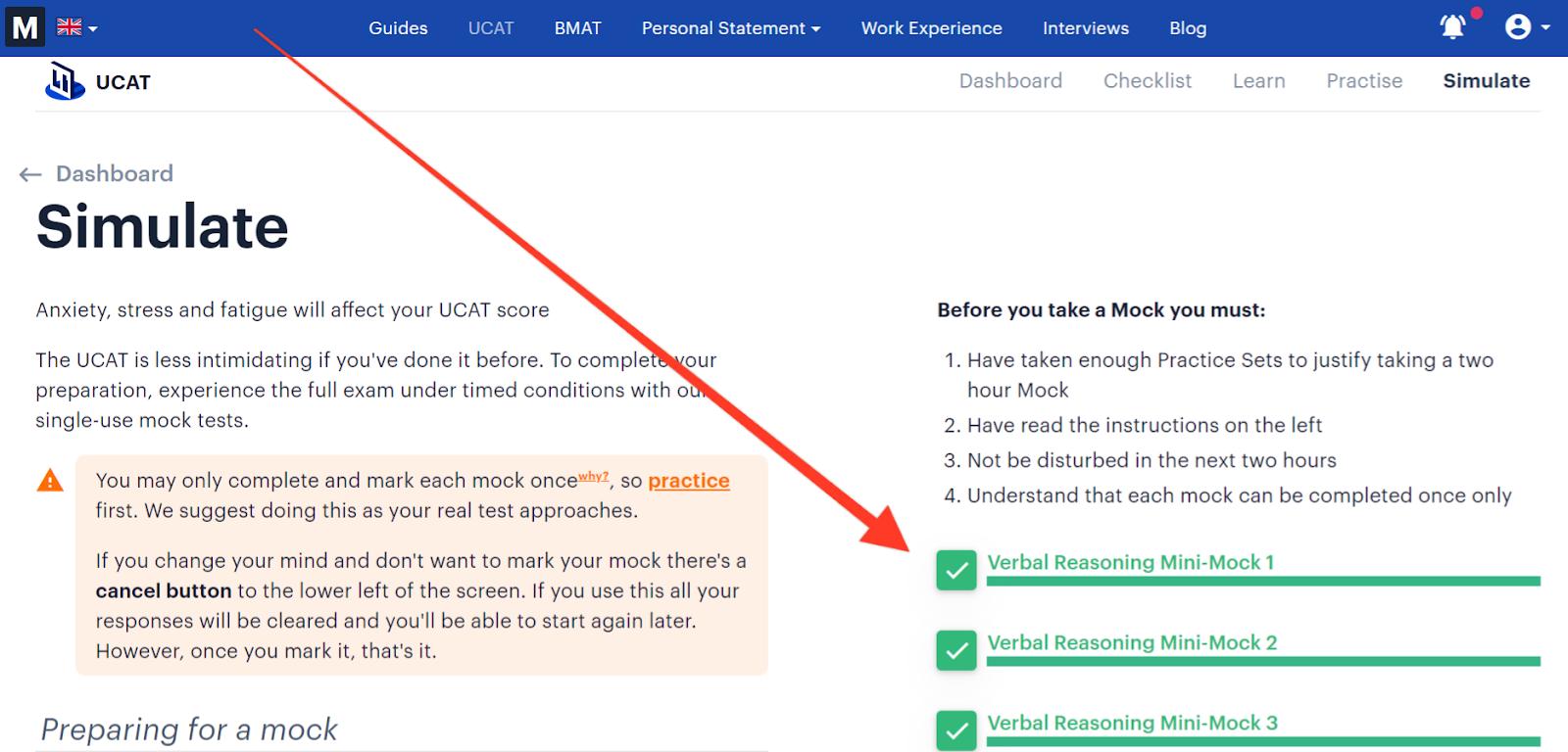 Screen shot of Medify's online UCAT course