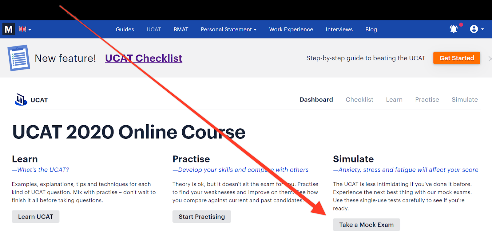 Screenshot of Medify's UCAT dashboard, highlighting where to find the online UCAT mock exams.