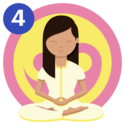A girl meditating in front of a pink and yellow ying yang symbol with her legs crossed, hands togetherand eyes closed.