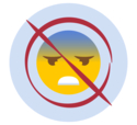 A stressed emoji in a not allowed red circle with line through it to show you're not to feel guilty