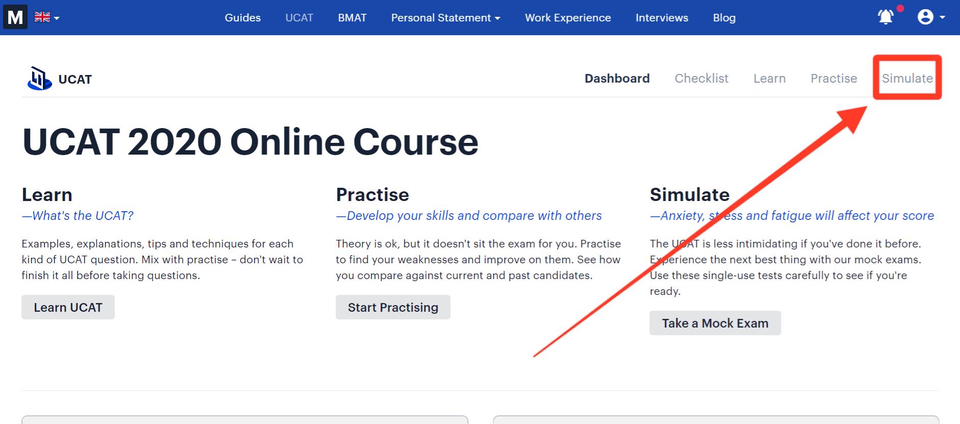 Medify's UCAT simulate method