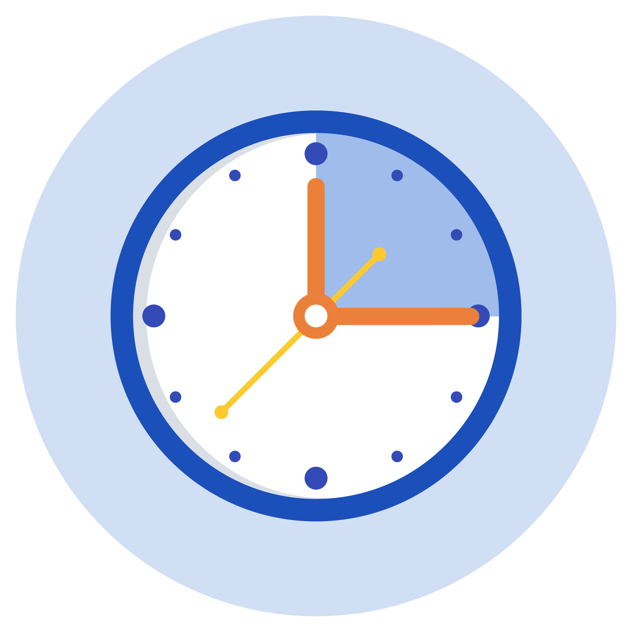 A clock showing a time span of 15 minutes