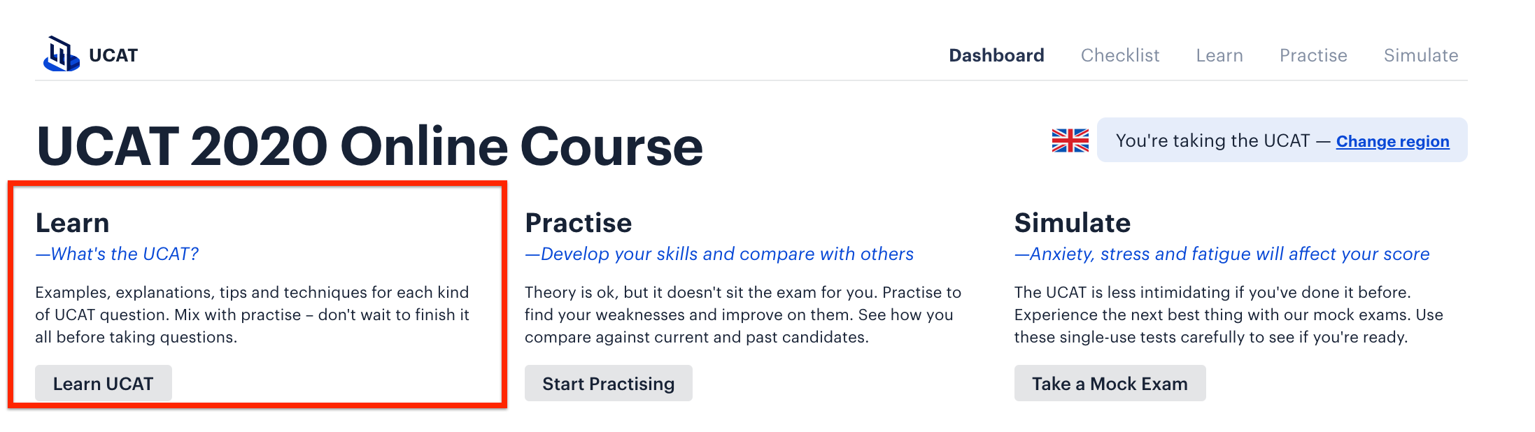 A screenshot of Medify's Online UCAT course, with a red box drawn around the 'Learn' section.