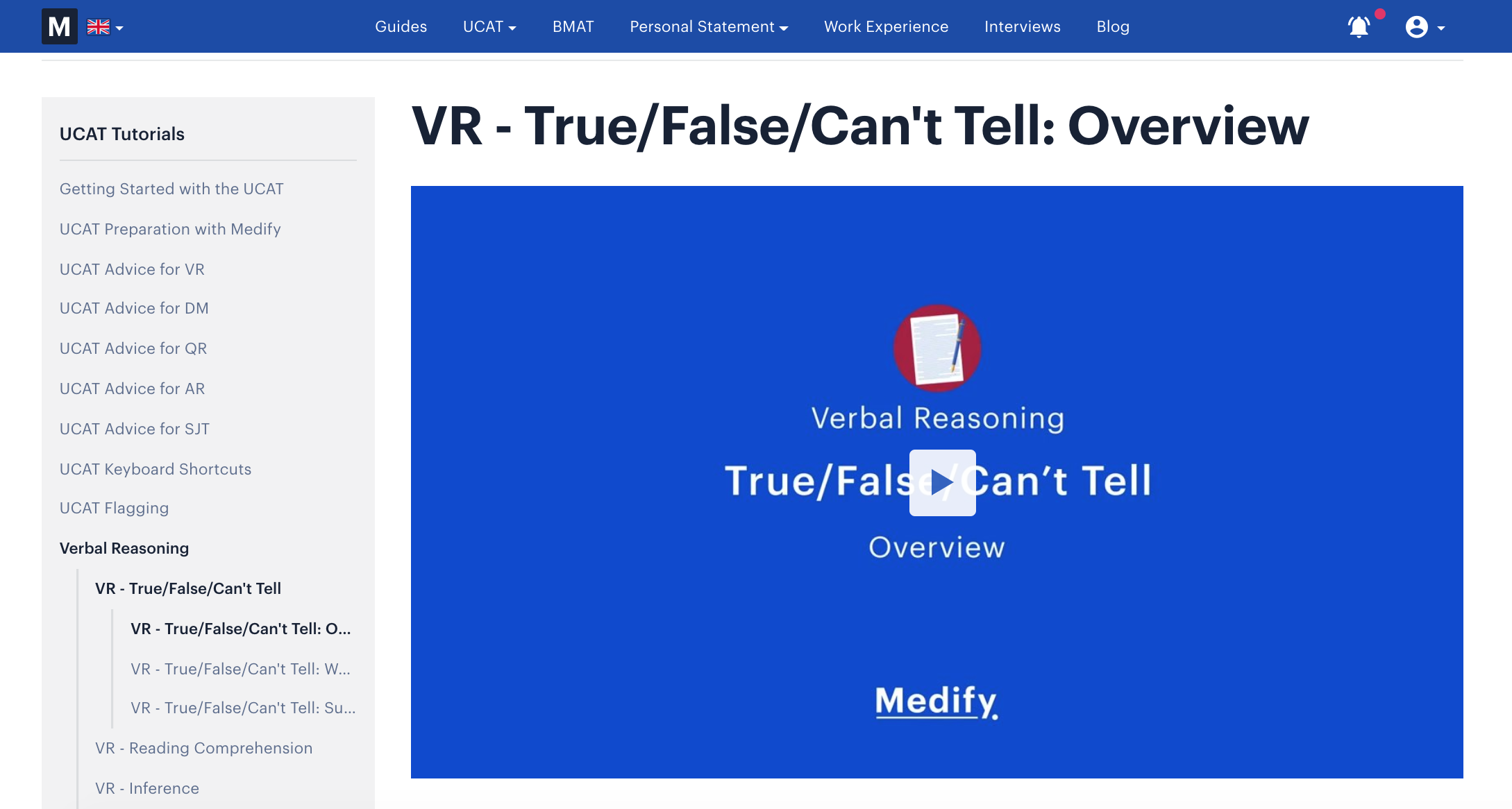 A screenshot of Medify's Online UCAT course, showing a video that covers True/ False/Can't Tell type of questions.