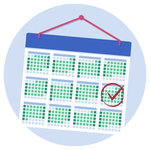 A calendar with a person's UCAT test date marked with a tick and a circle