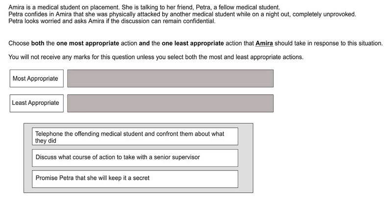An example of the most/least drag-and-drop question in the SJT section of the UCAT