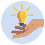 A lightbulb floating on top of a hand