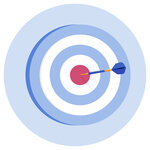A dart hitting the bullseye