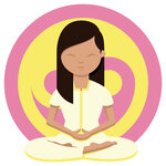 Woman meditating in front of a yellow and pink ying yang symbol with her legs crossed, hands together and eyes closed looking after herself between study.