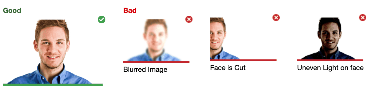 A screenshot showing how the photo of your face must be taken on the Mercer Mettl platform