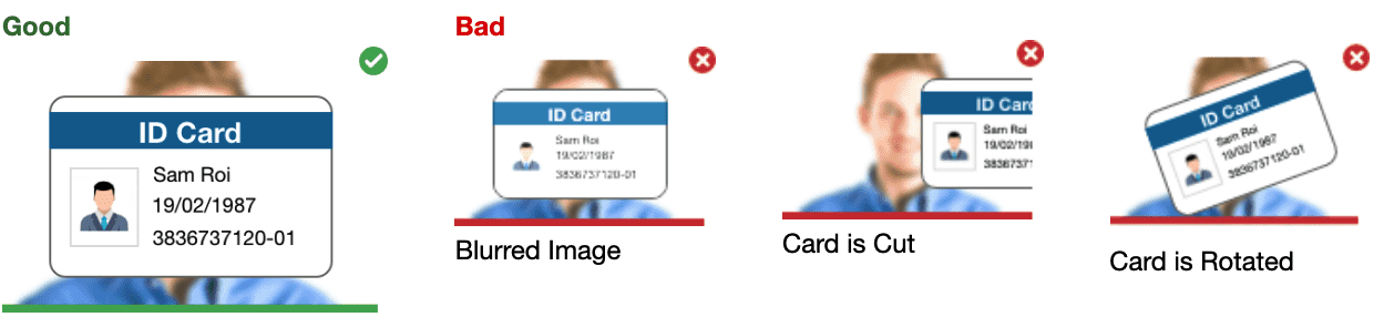 A screenshot showing how the photo of your identification must be taken on the Mercer Mettl platform