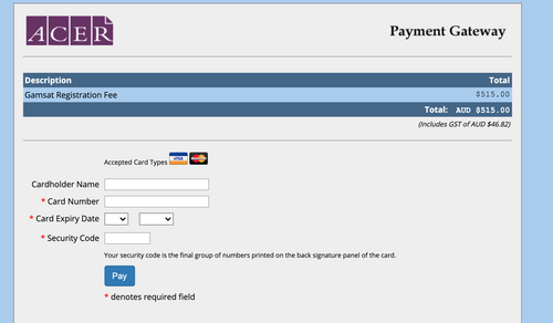 A screenshot of the GAMSAT payment page