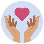 A pink heart symbol between two hands