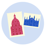 A stamp with photos of medical schools in the UK
