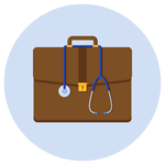 A medical suitcase with a stethoscope hung around it.