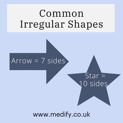 Common irregular shapes: arrow (7 sides), star (10 sides)