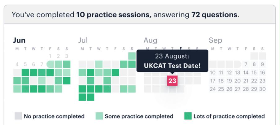 Medify's UCAT progress calendar