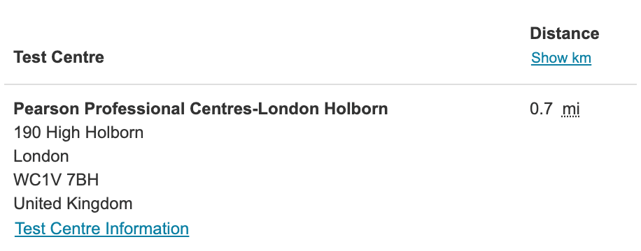 A screenshot of the Pearson VUE website that shows a link to 'Test Centre Information'