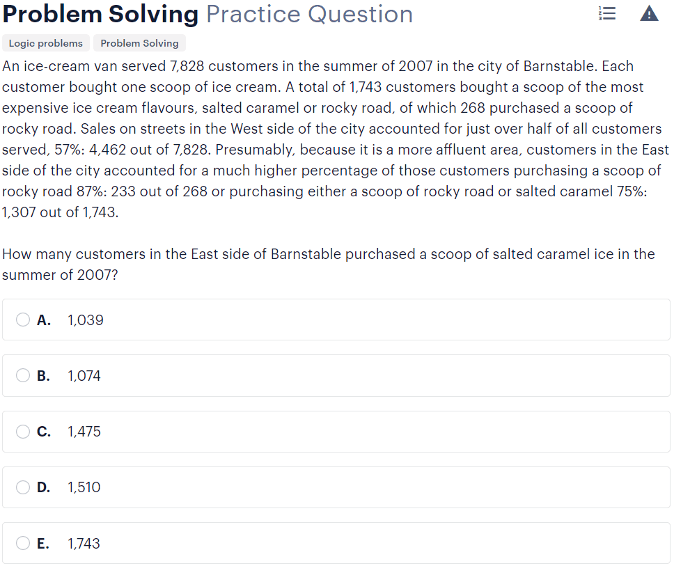 BMAT problem-solving questions type - relevant selection sample