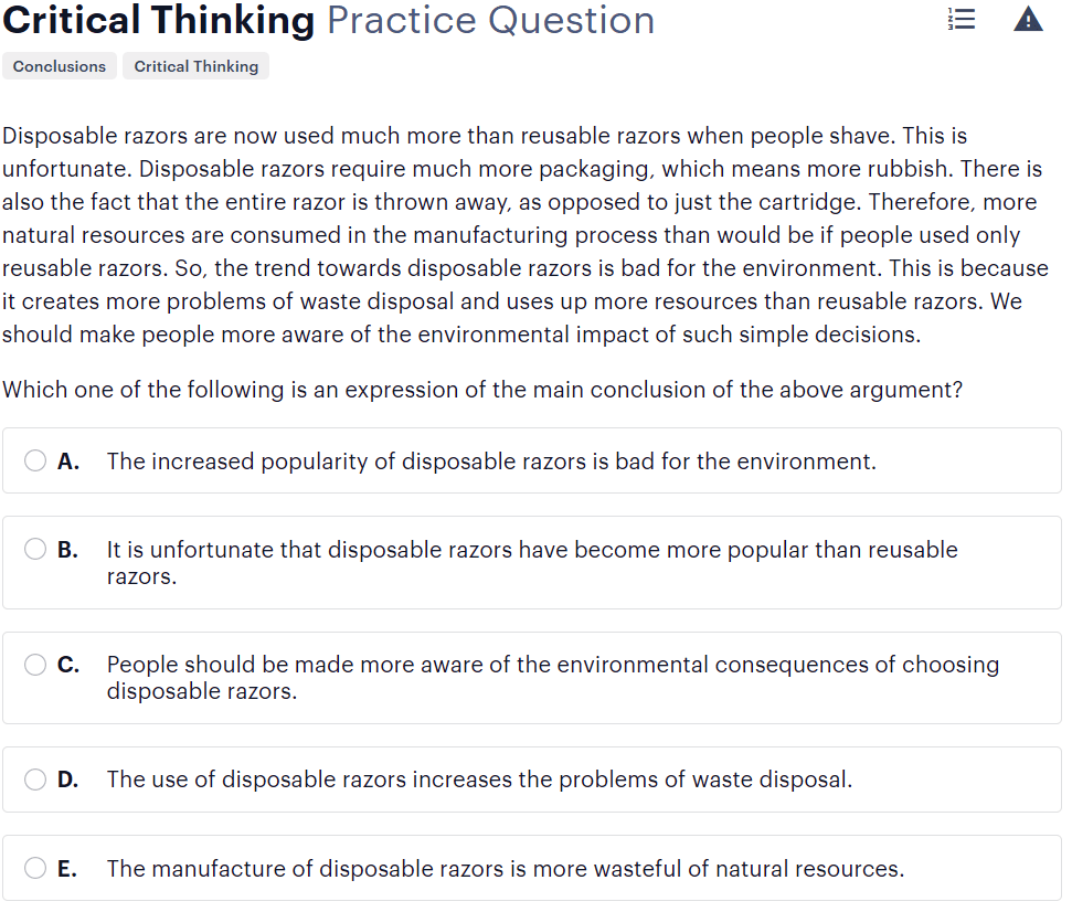 BMAT critical thinking questions type - identifying the main conclusion sample
