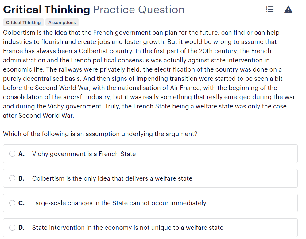 BMAT critical thinking questions type - identifying assumptions sample