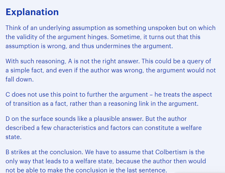 BMAT critical thinking questions type - identifying assumptions explanation