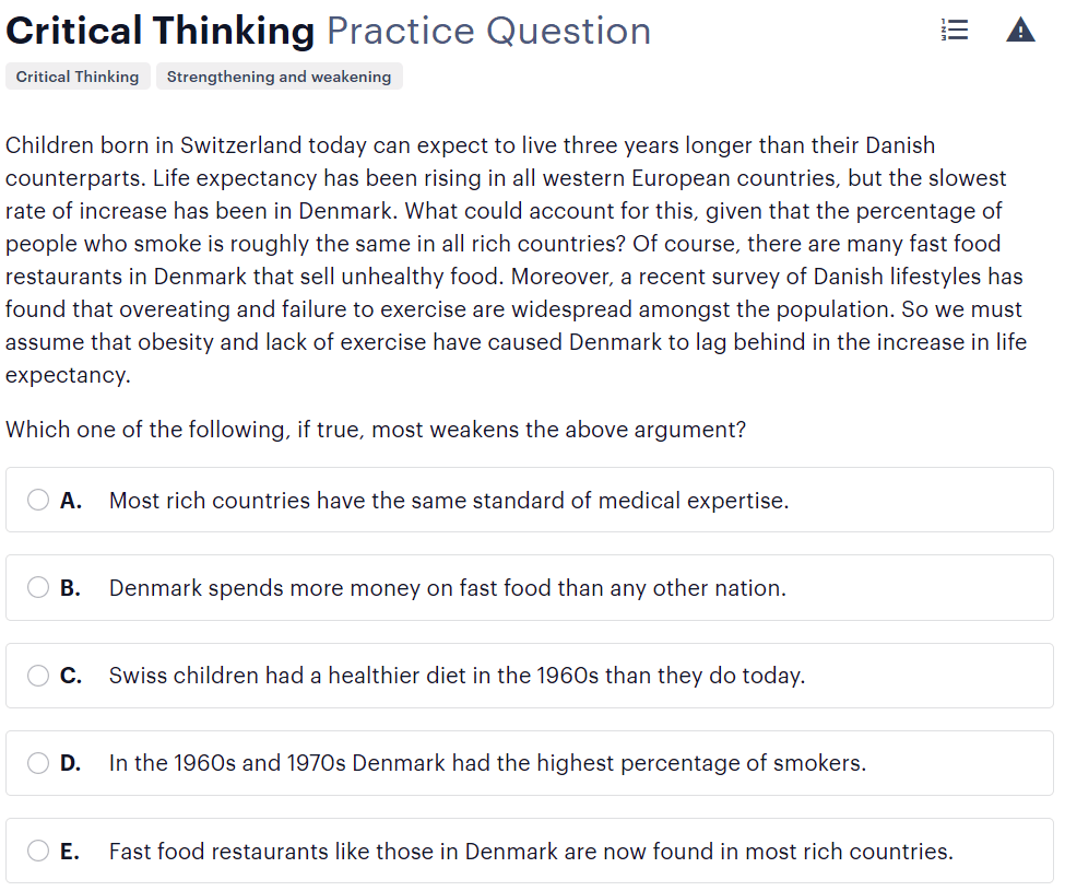 BMAT critical thinking questions type - assessing the impact of additional evidence sample