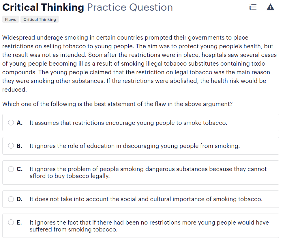 BMAT critical thinking questions type - detecting reasoning errors sample