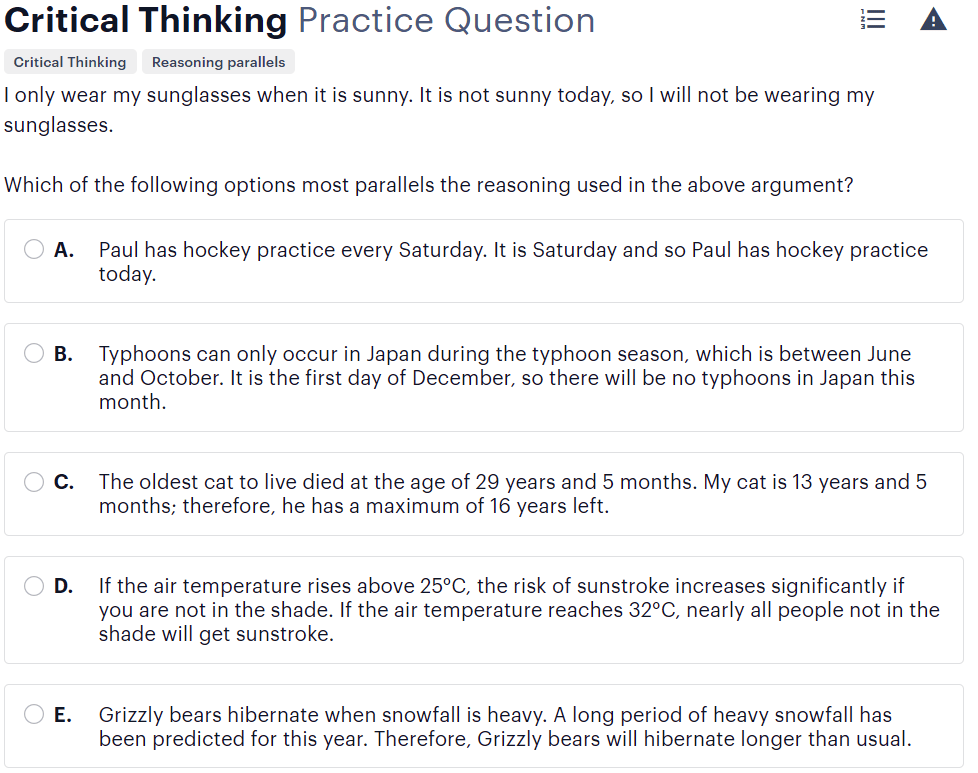 BMAT critical thinking questions type - matching arguments evidence sample