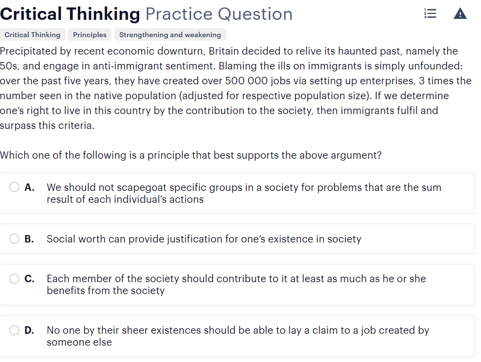 BMAT critical thinking questions type - applying principles sample