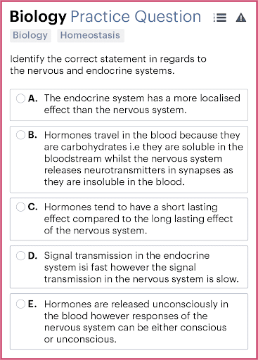 BMAT Section 2, Biology Practice Question