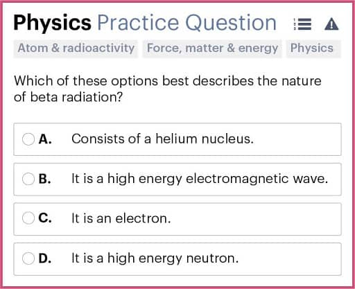 BMAT Section 2, Physics practice question.