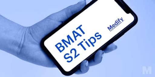 """""""Medify's BMAT Section 2 tips"""" written on a phone which is held by a hand."""