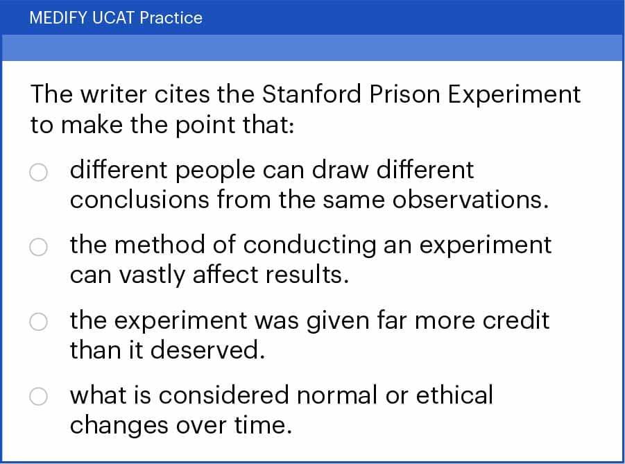 UCAT Verbal Reasoning (VR). Critical Reasoning question type example.