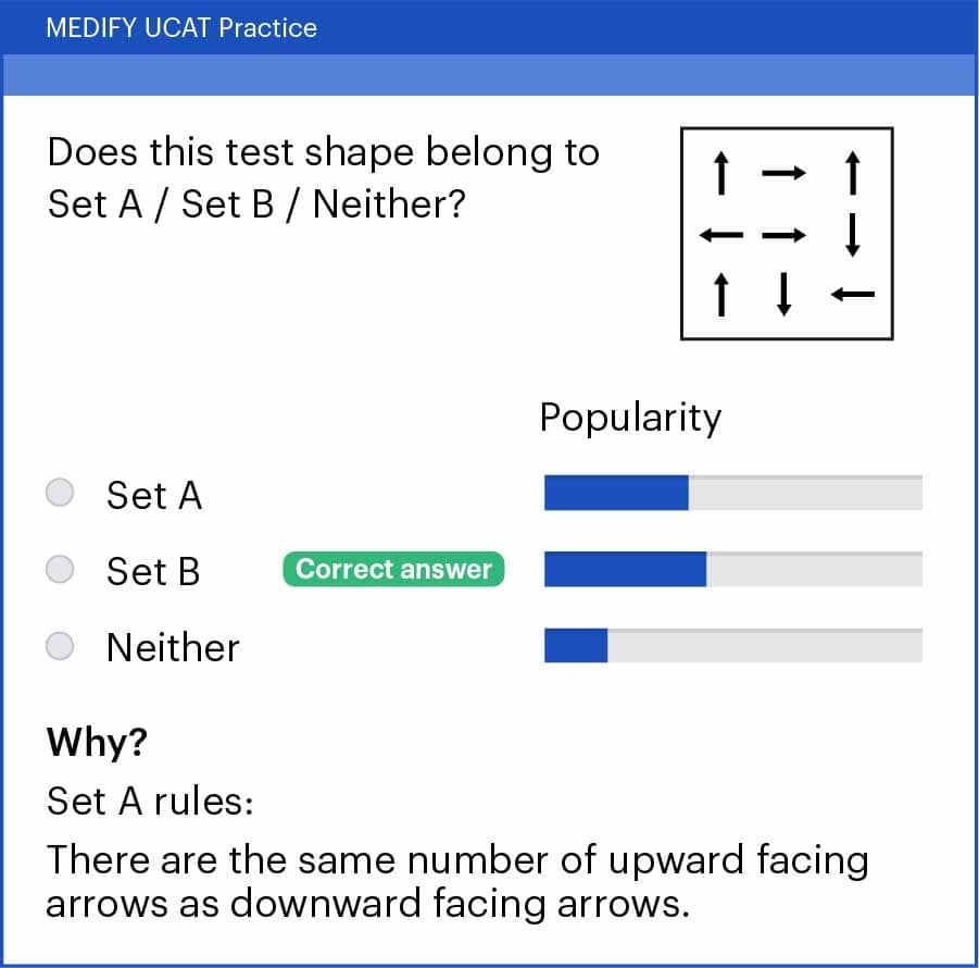 UCAT Abstract Reasoning (AR) Set A/Set B question example answer.