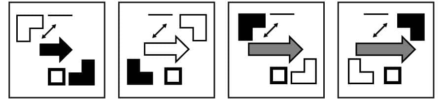 UCAT Abstract Reasoning (AR) Sequences question example.