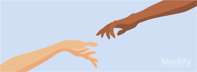 Illustration of a hand reaching out for another hand to represent fluid vs crystallised intelligence.