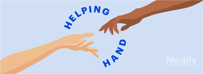 A person's hand reaching out to another person's hand, with a text: 'Helping Hand'