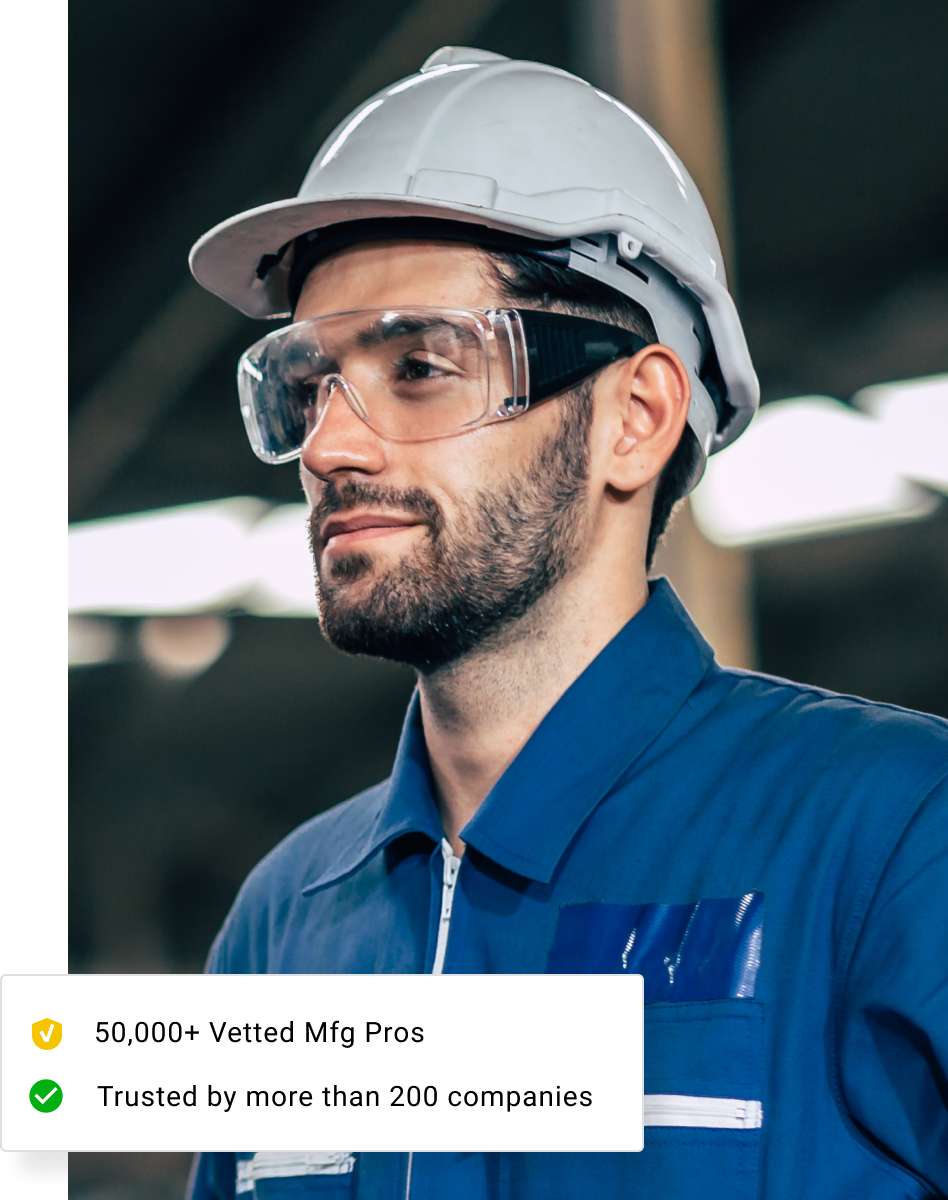 Factory Worker in Hat and Glasses