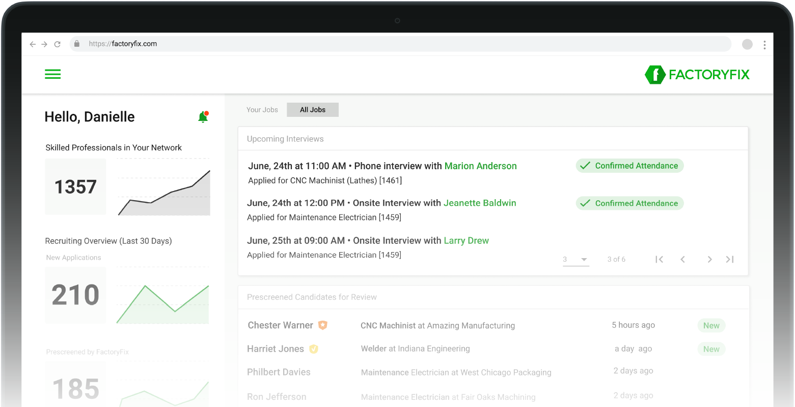FactoryFix's dashboard has all your hiring needs, and recommendations.