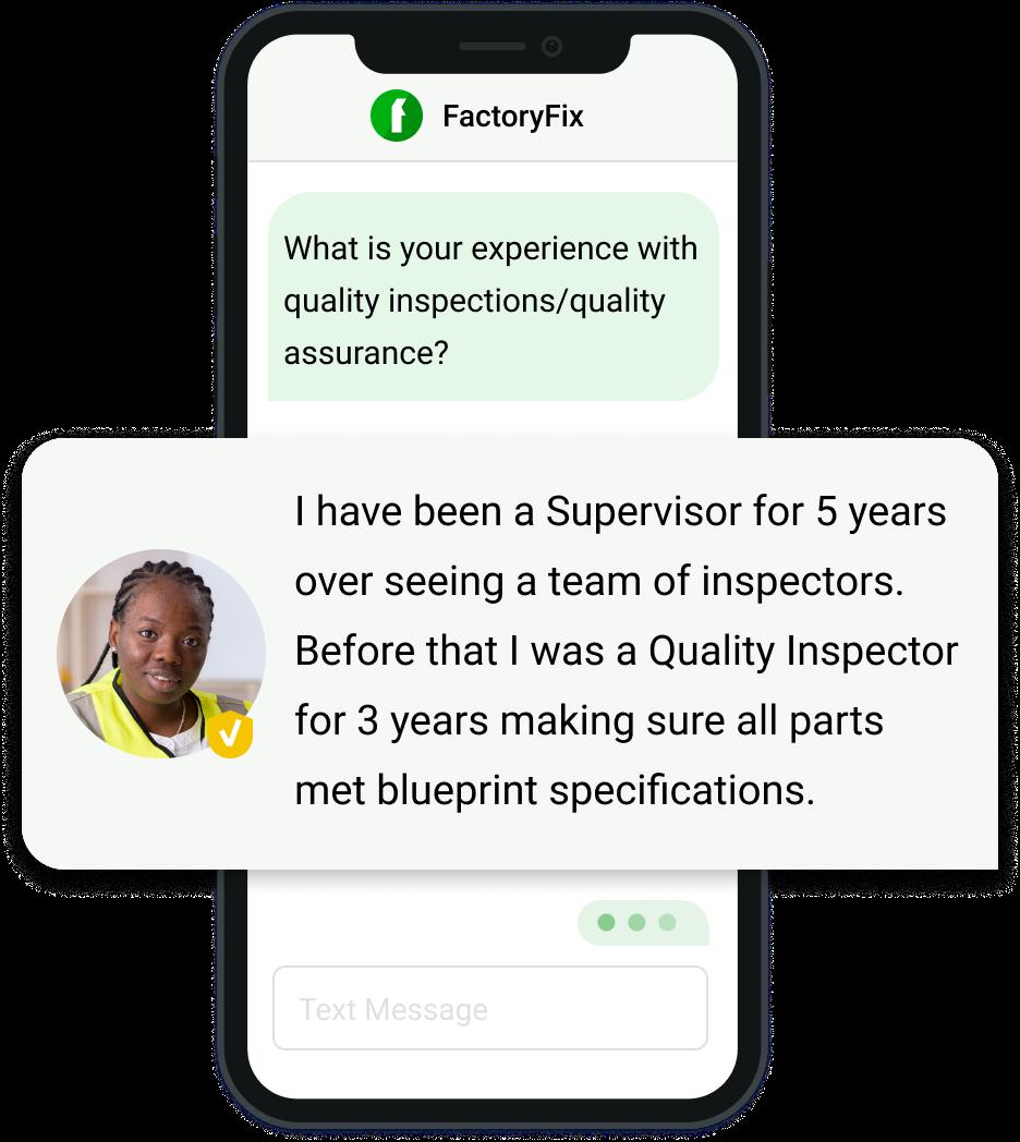 FactoryFix TalentText feature prescreening a pro via text messaging.